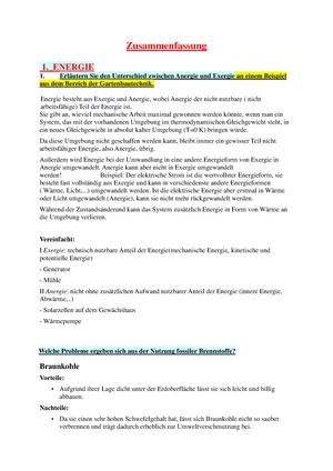 Zusammenfassung - Fragen und Antworten - Energie, Grundlagen der ...