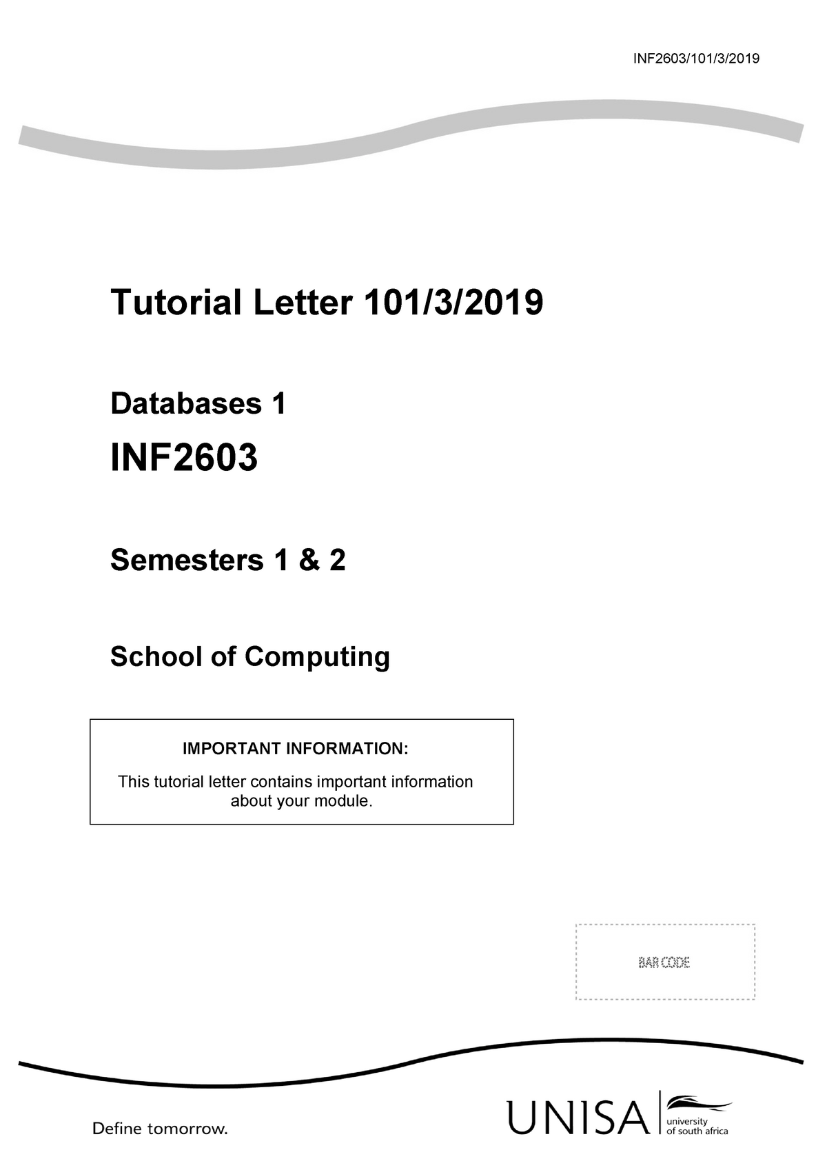 101 2019 3 b - Course Assessments - Databases 1 INF2603