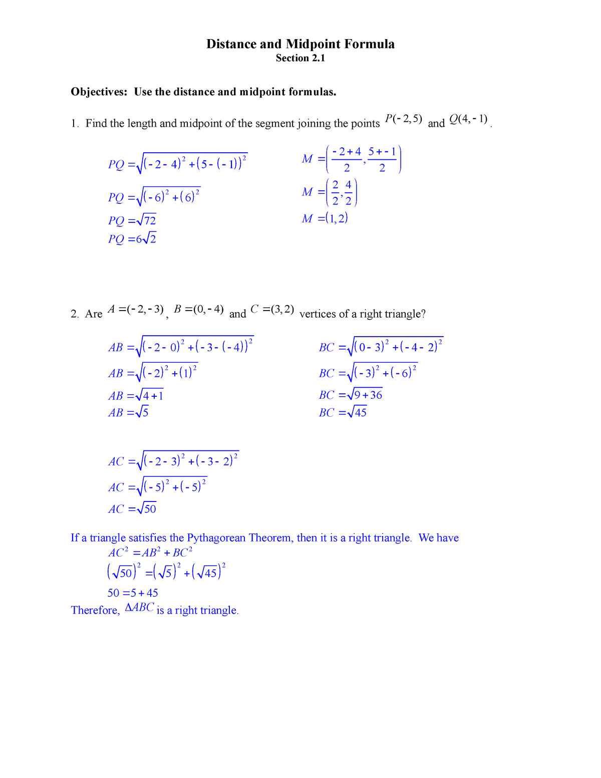 Section 2 1 - Distance and MIdpoint Formula - Solutions