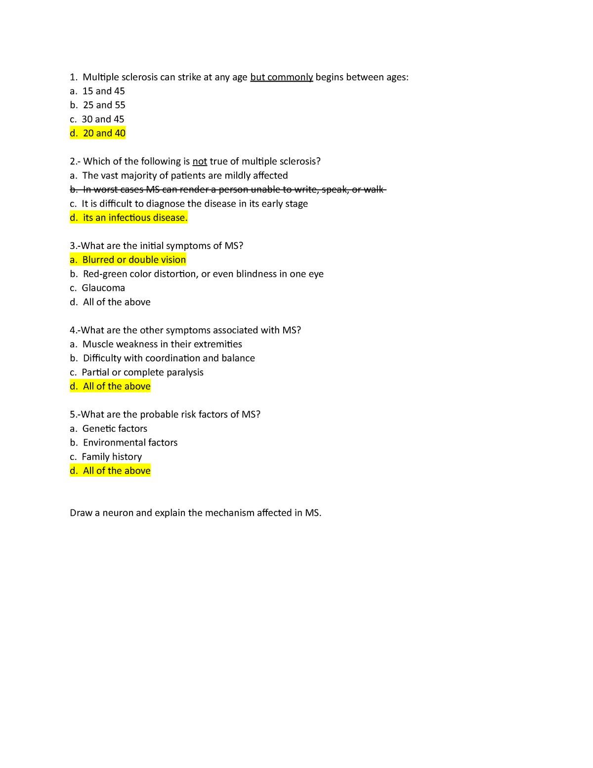 Multiple Sclerosis Quiz - BMED1108 - StuDocu