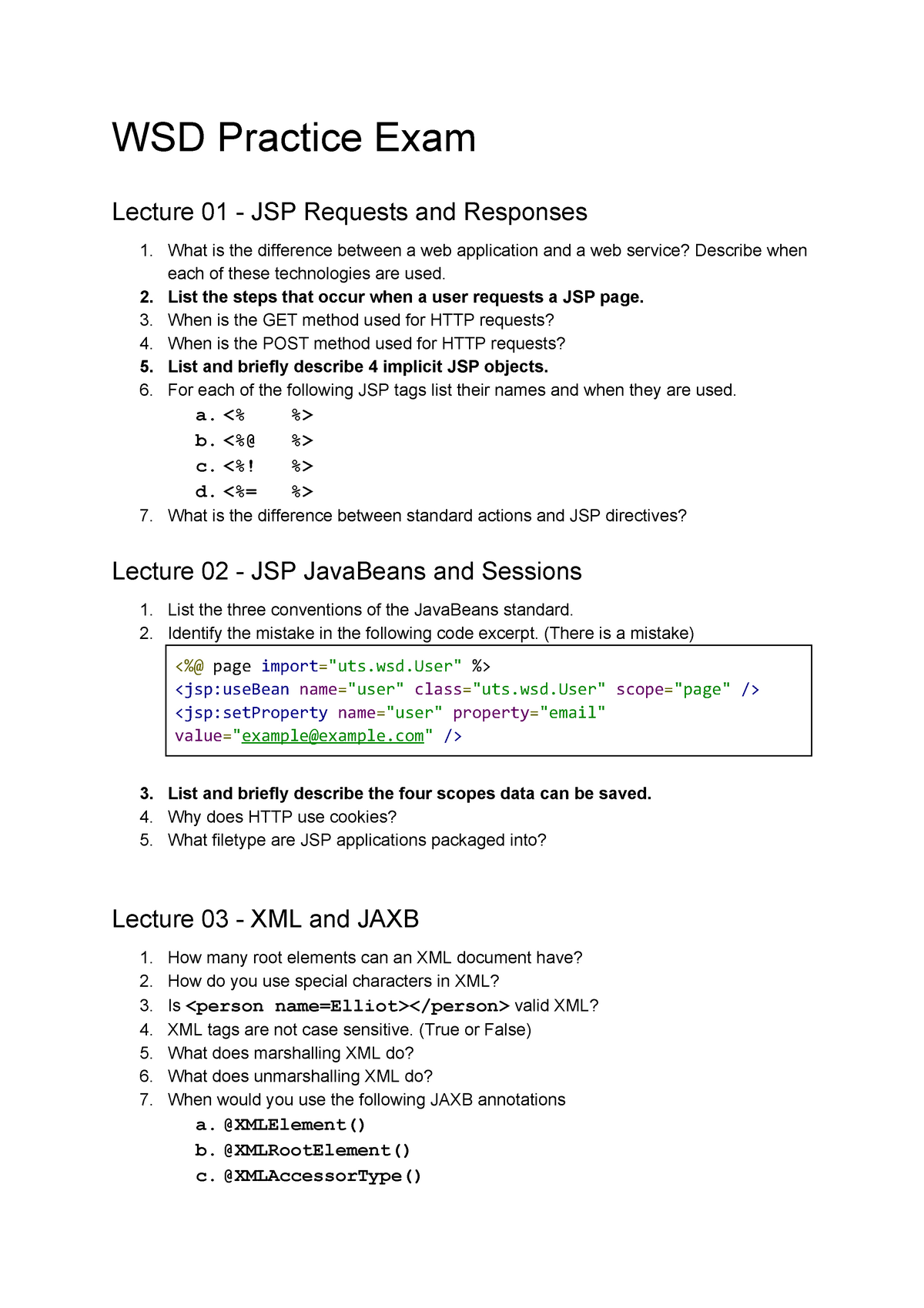 Exam 2016 - 031284 : Web Services Development - StuDocu