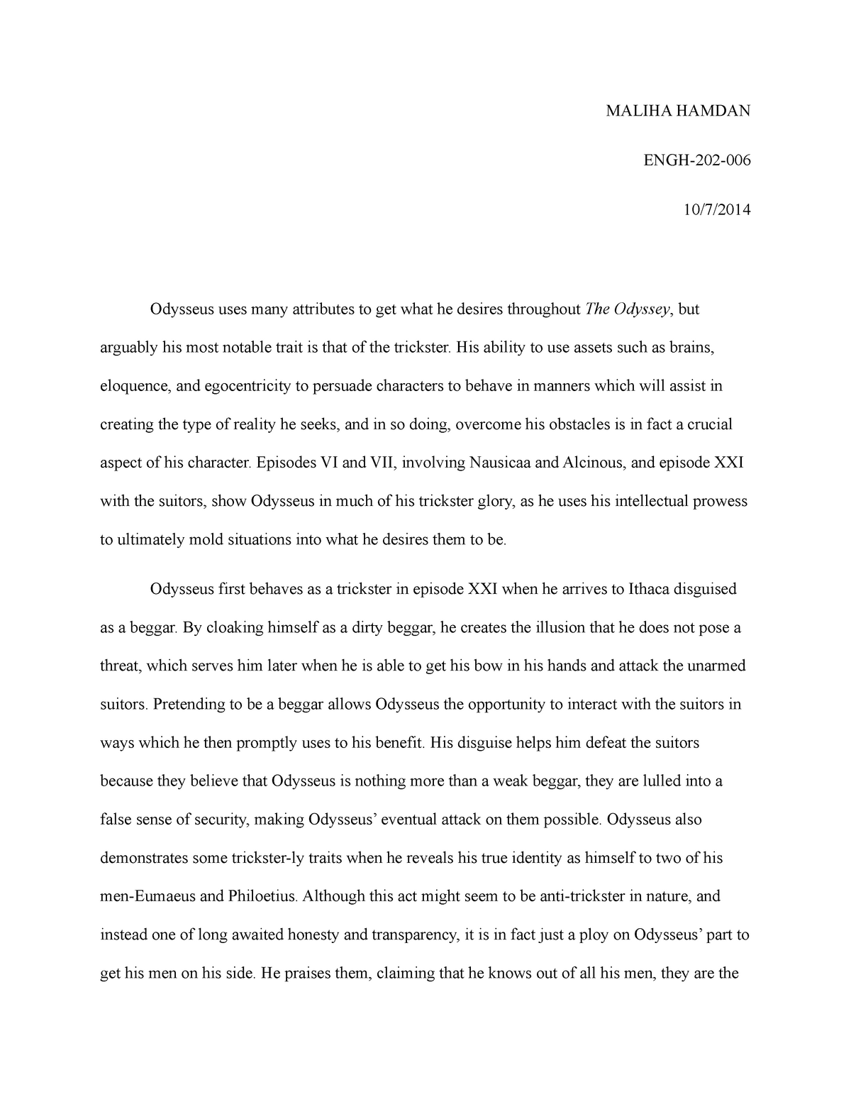 the odyssey 5 paragraph essay
