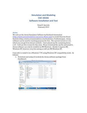Practical - Simulation csci3010u - software installation and test