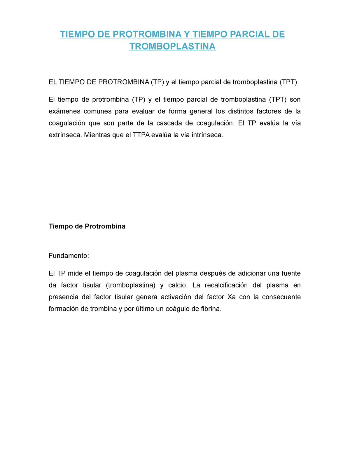 Analisis clinicos tp y tpt