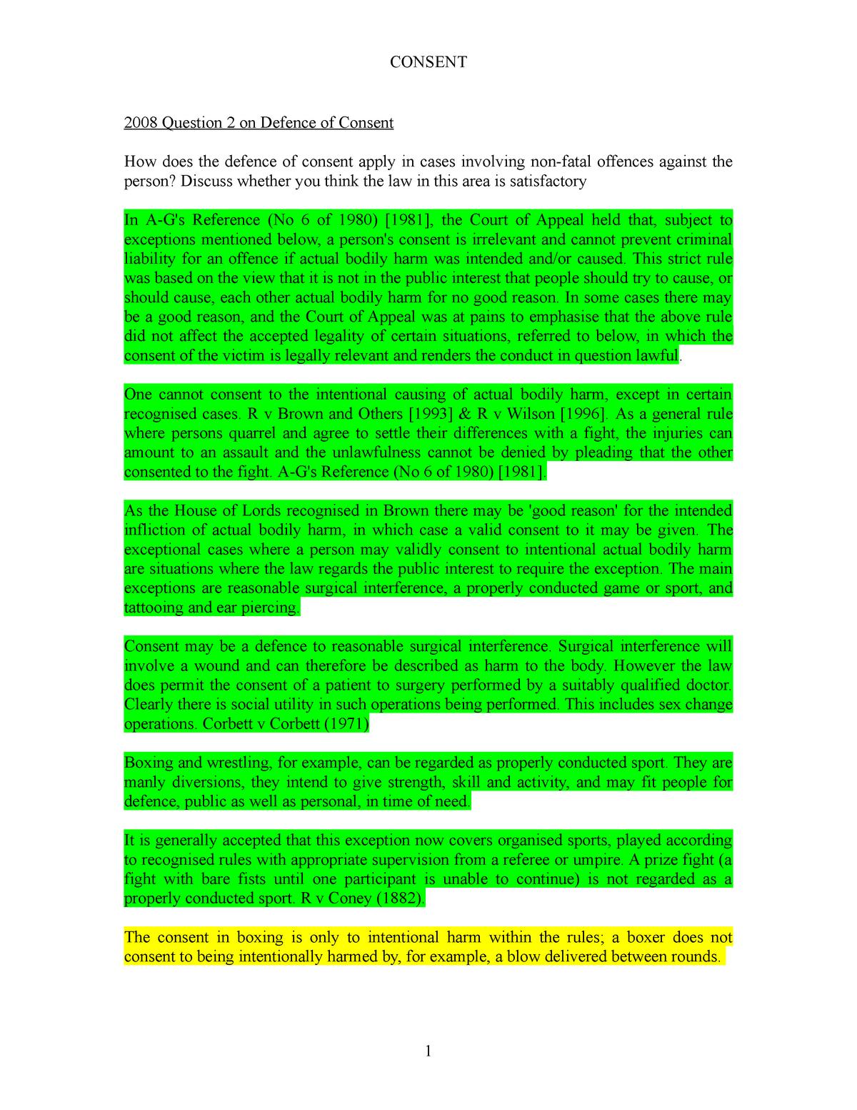 Consent - Criminal law LA1010 - StuDocu