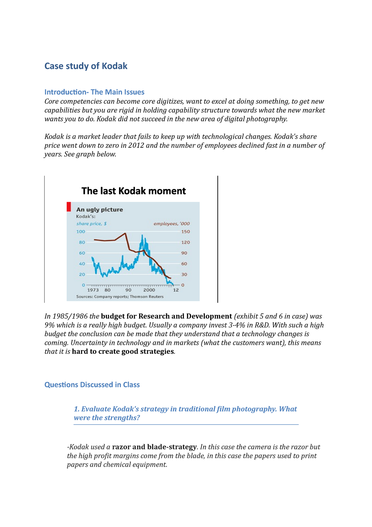 Lecture notes - Case study - Kodak case study F - Strategy