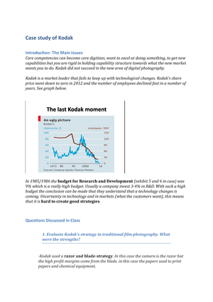 Lecture notes - Case study - Kodak case study F - Strategy