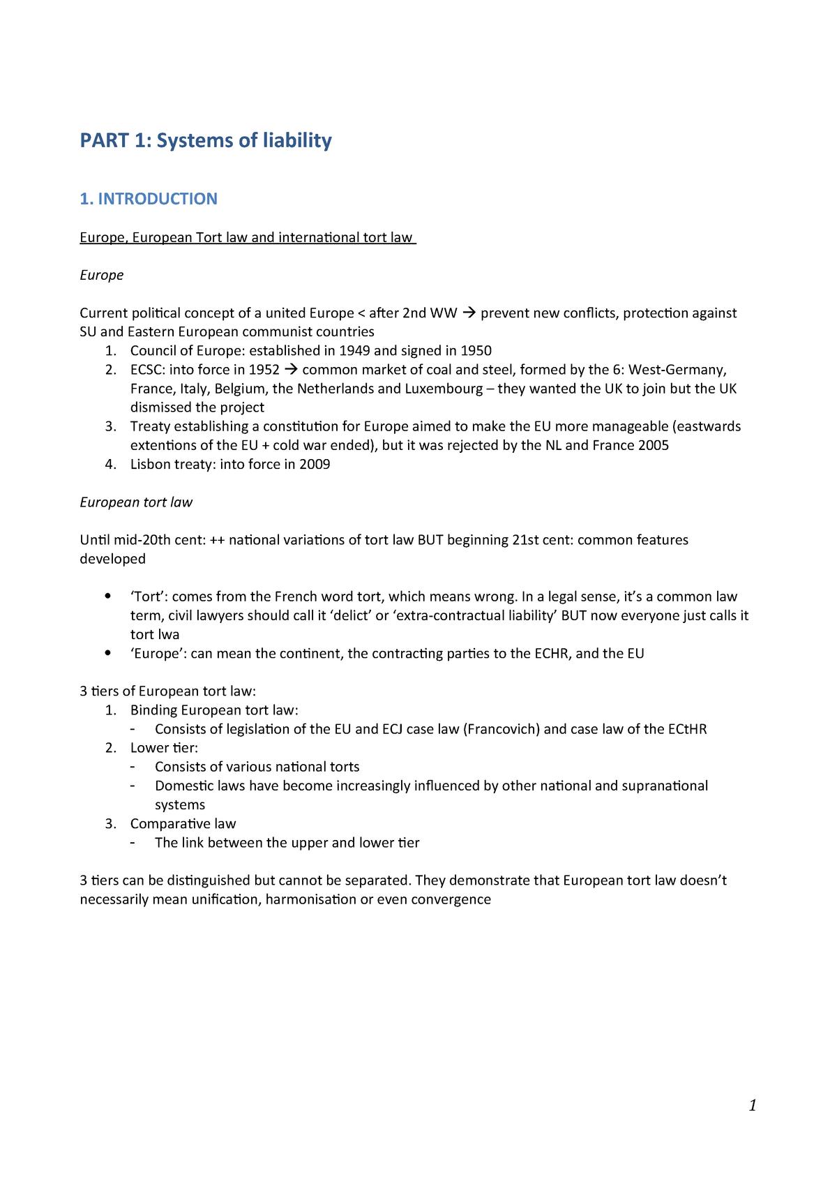 Summary European Tort Law 08 Jul 2018 - StuDocu