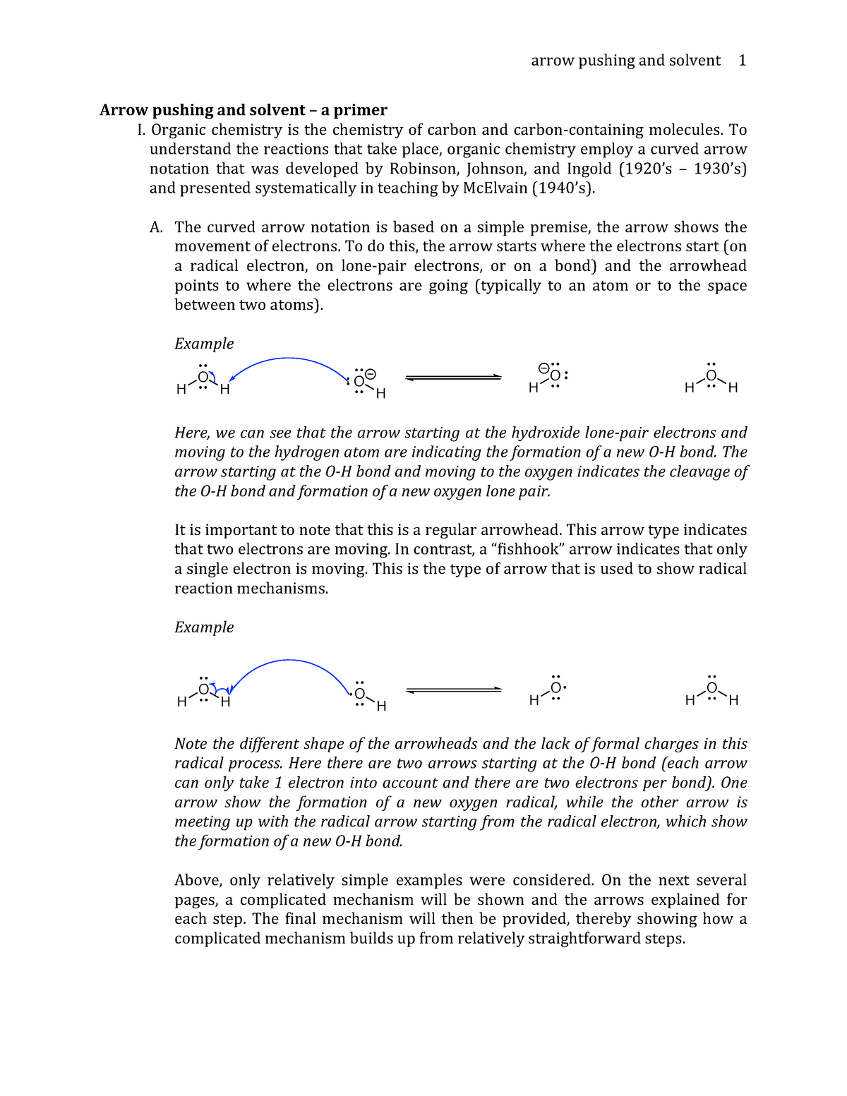 Arrow Pushing and Solvent KEY - CAS CH 203: Organic