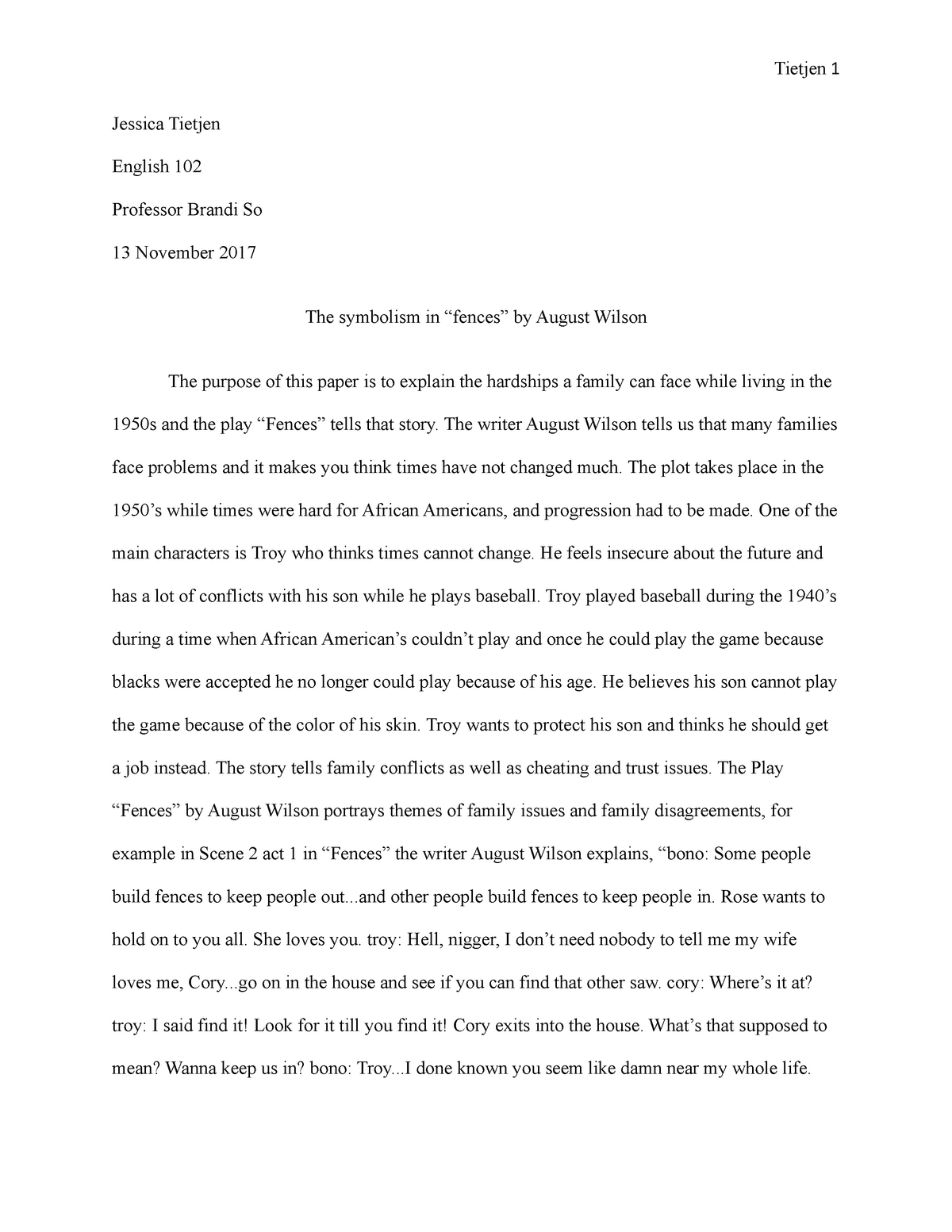 fences symbolism essay