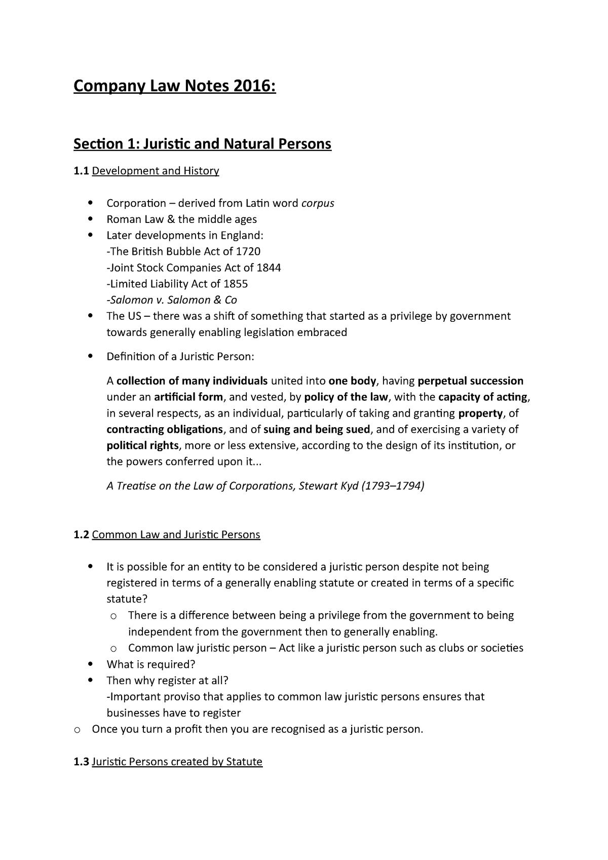 Company law notes - CML2001F - UCT - StuDocu