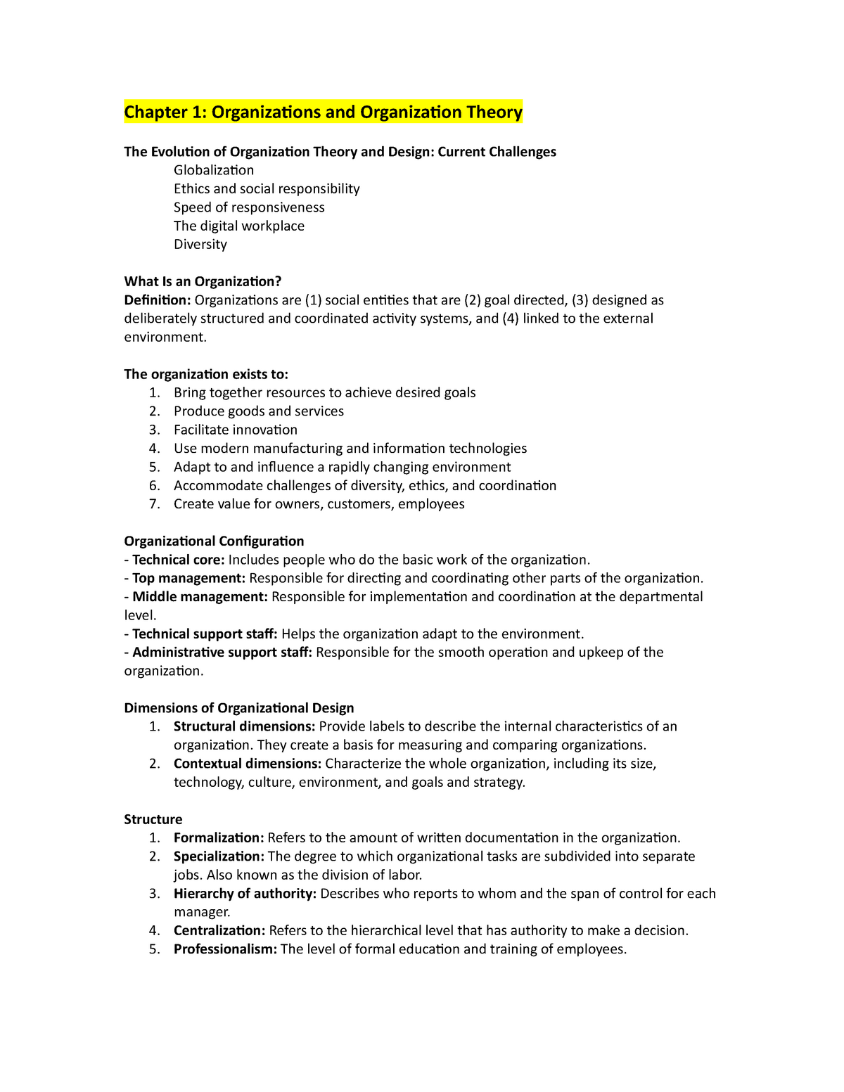 Midterm Review Mana 341 Organizational Theory And Design Studocu
