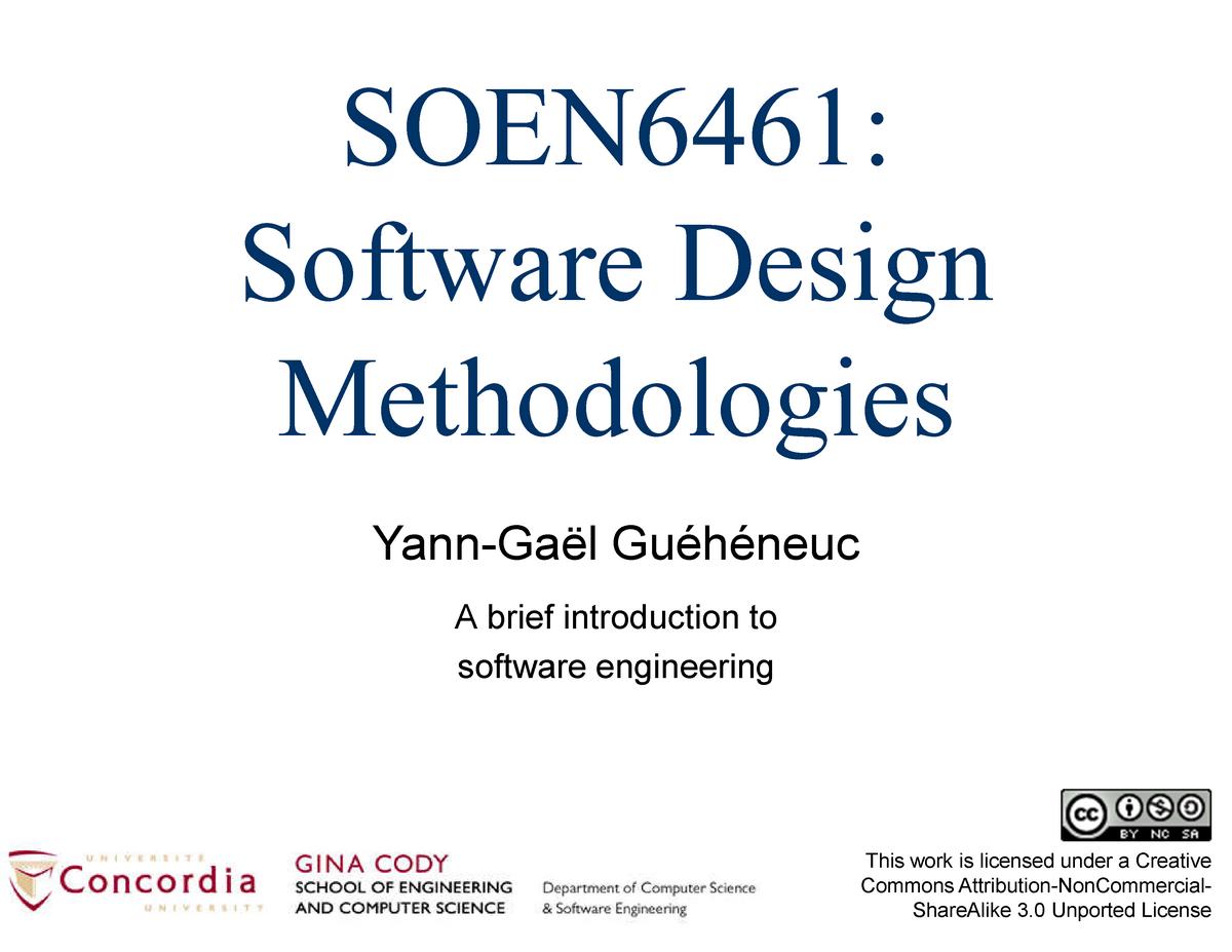 Week 01 1 On Software Engineering Splitted Soen 6461 Studocu