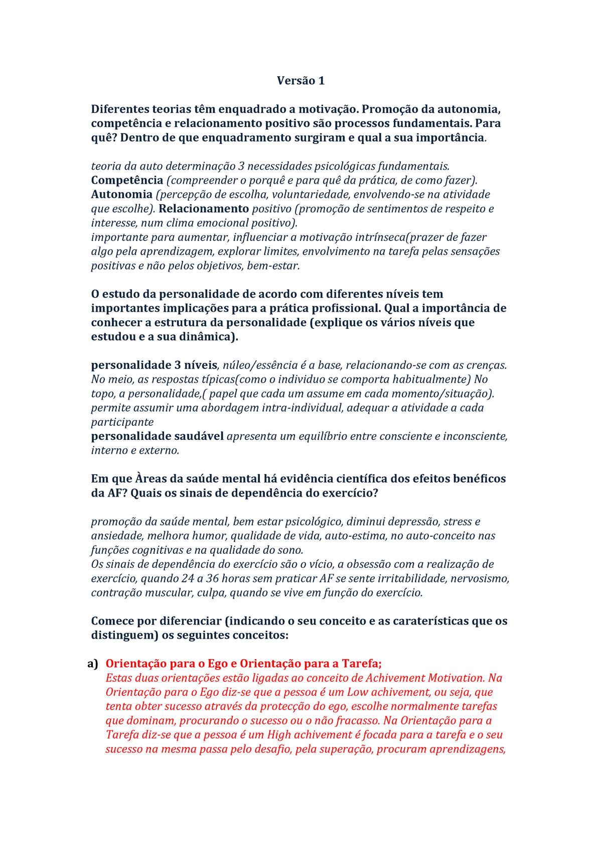 Resolução Versão 1e2 Psicologia Geral Studocu