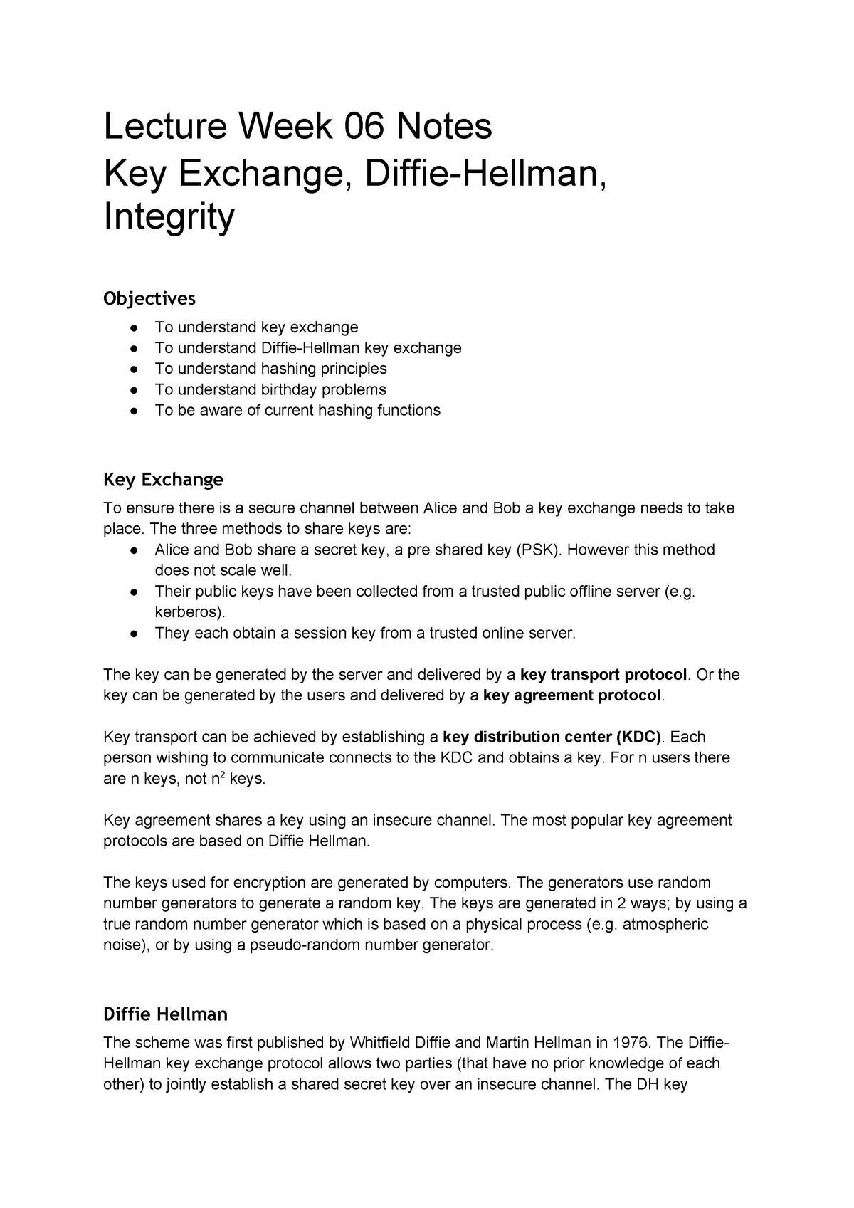Week 06 - Key Exchange and Hashing - C10219v4: Bachelor of