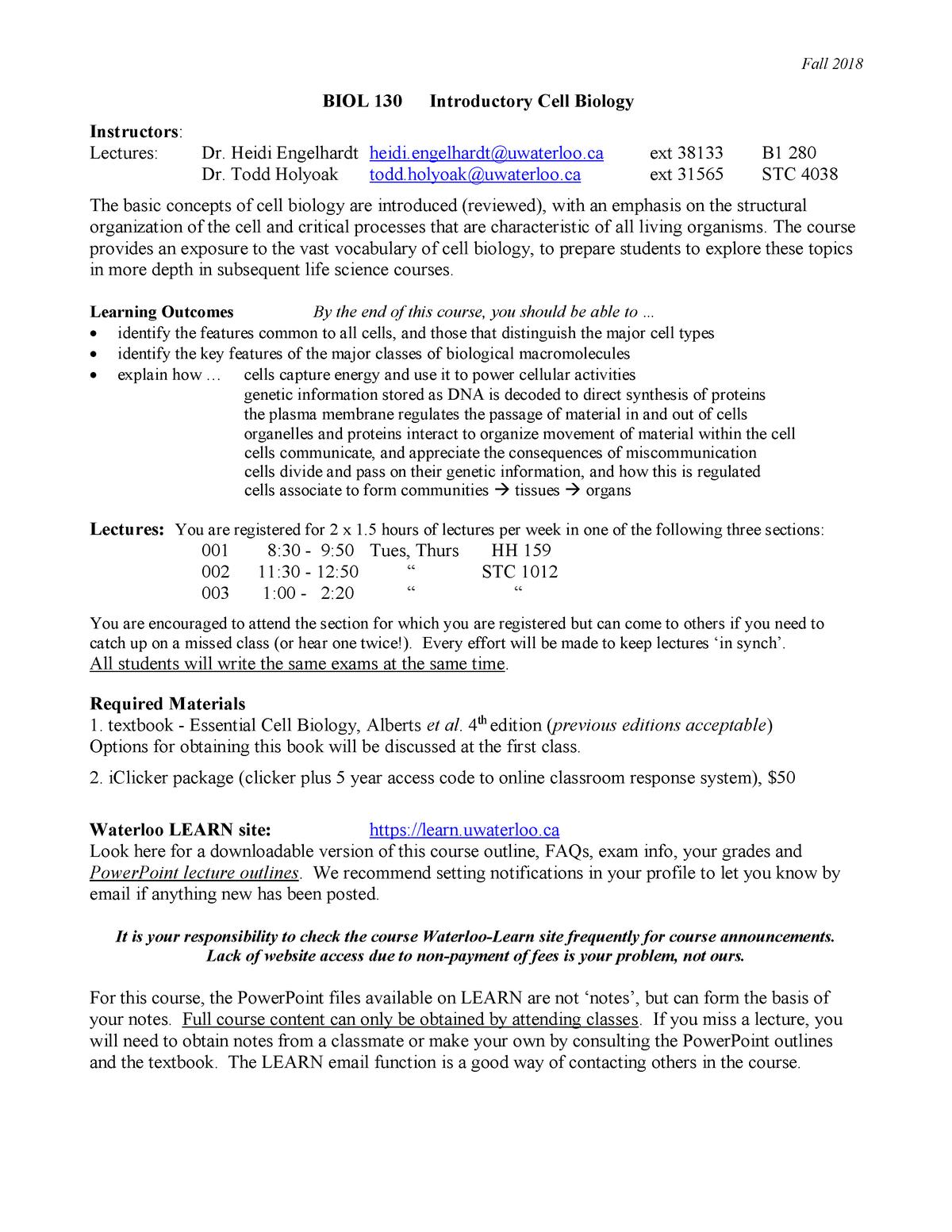 Biol 130 fall 2018 - course outline - Bio 130: Biology - StuDocu