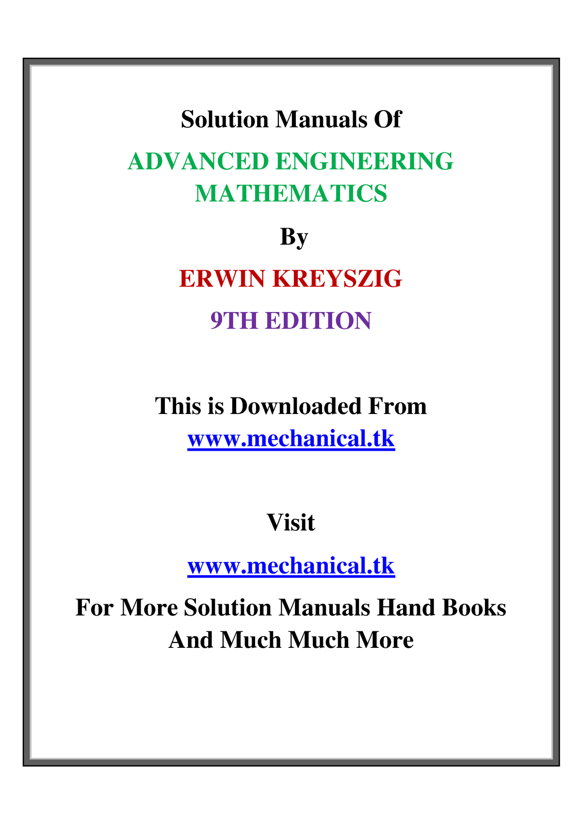 Solution manual of advanced engineering mathematics by erwin
