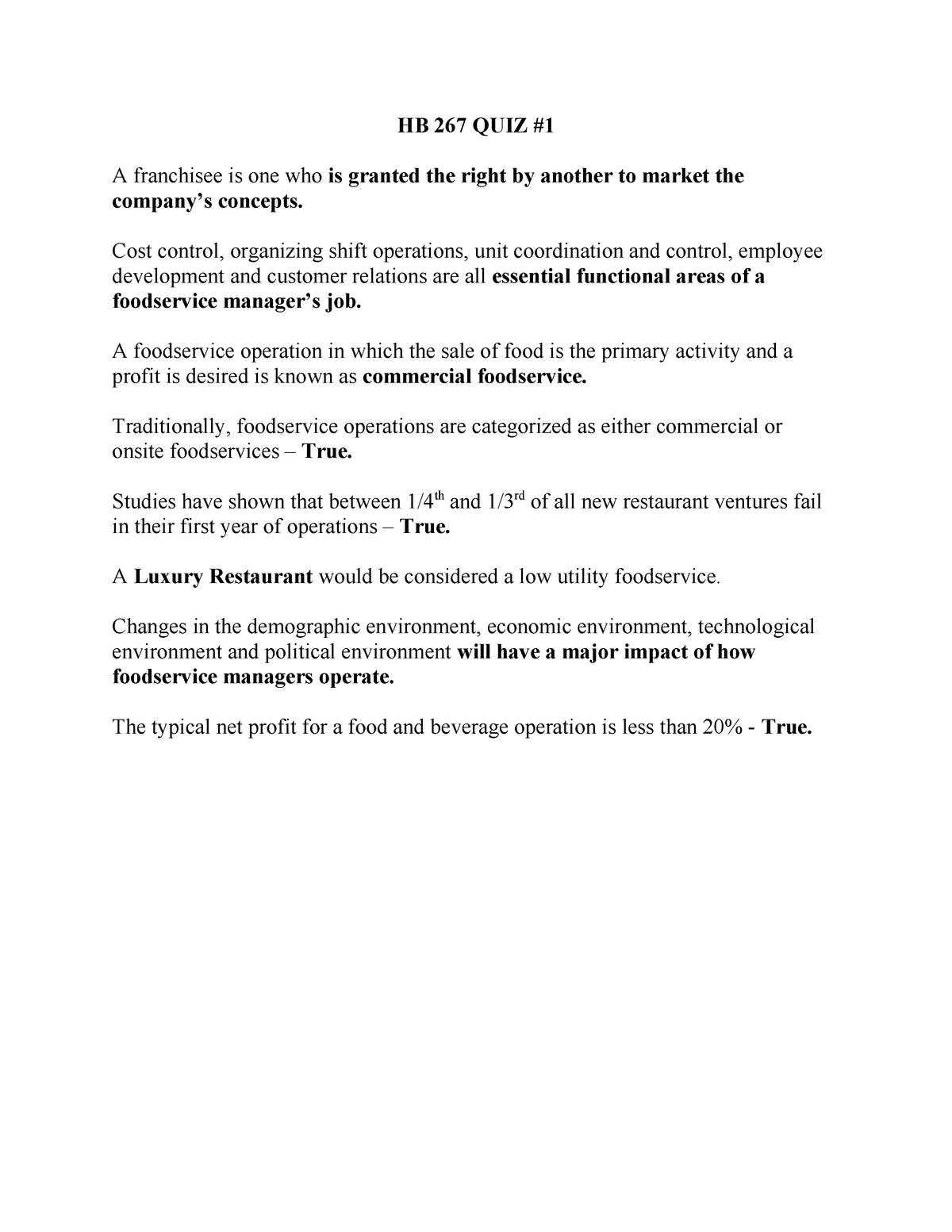 Exam 2015 - HB 267: Food And Beverage Management - StuDocu