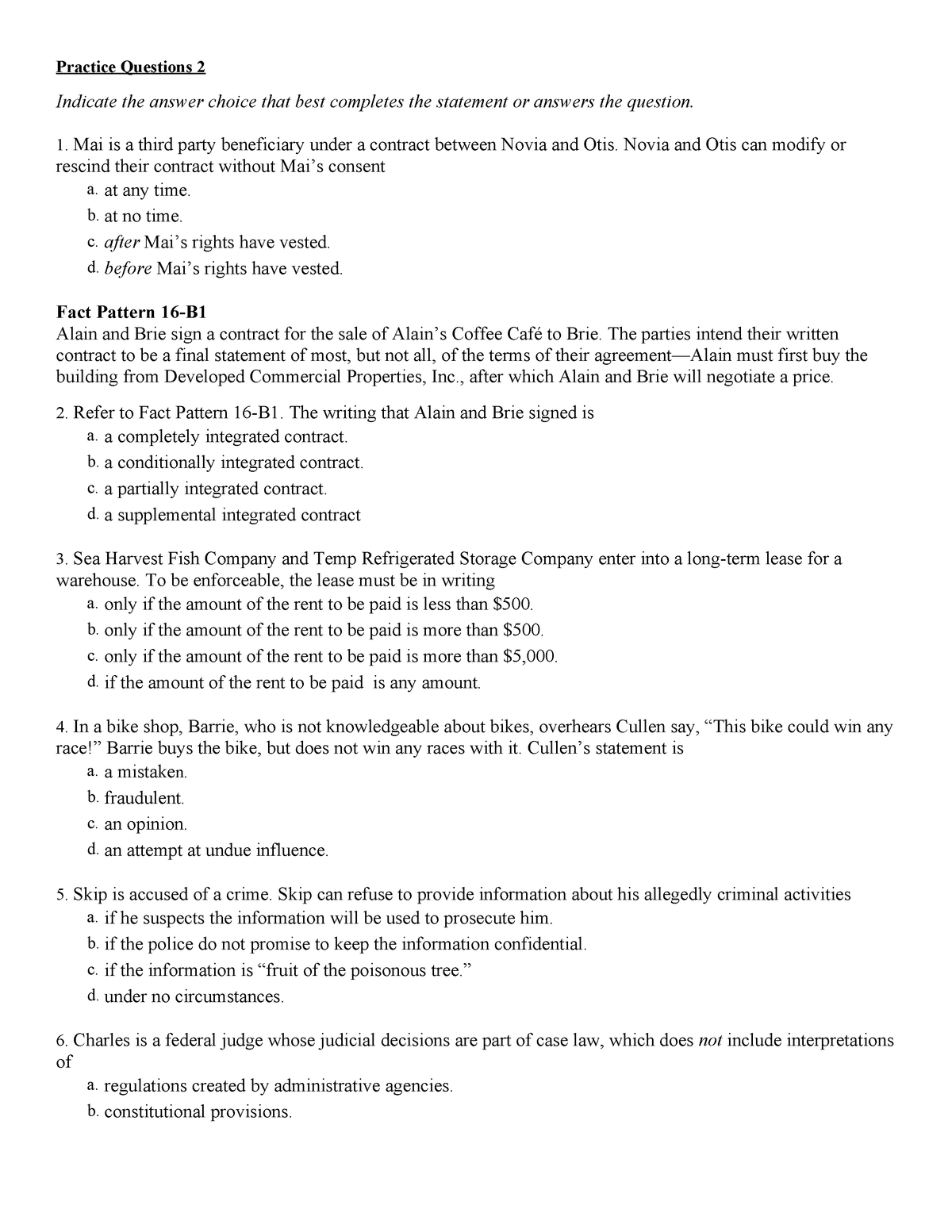 Sample/practice exam 2017, questions and answers - BUS 110
