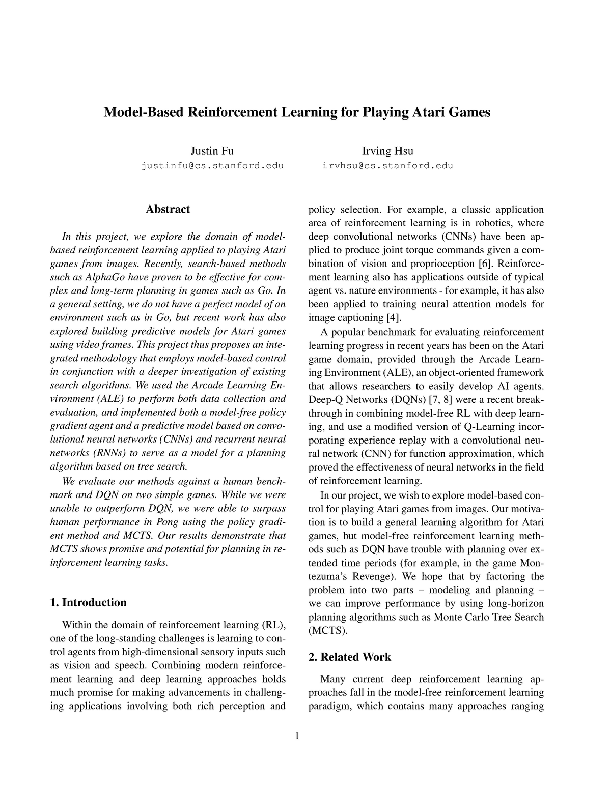 Model-based reinforcement learning for playing atari games