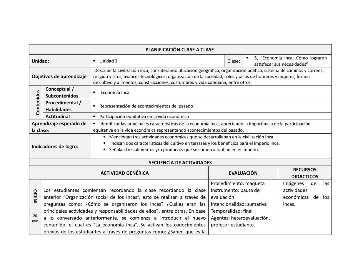 Clase 5 Economía Los Incas Práctica Profesional Usach