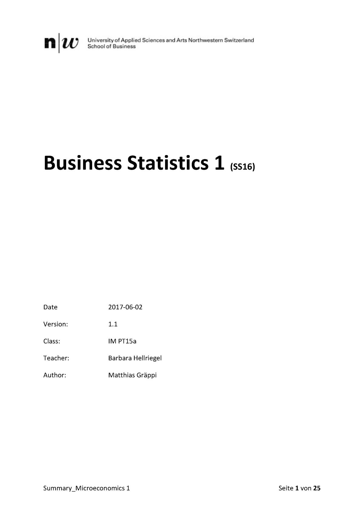 Statistics Summary - Statistik 1 - FHNW - StuDocu