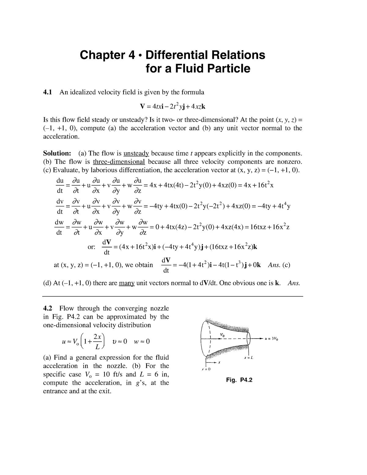 Solution Manual Fluid Mechanics White 5th CH 4 - WB2542 T1 S