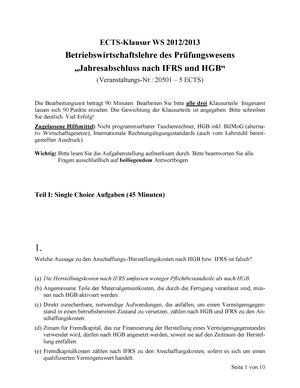 Klausur 2013 Fauen328 Jahresabschluss Studocu