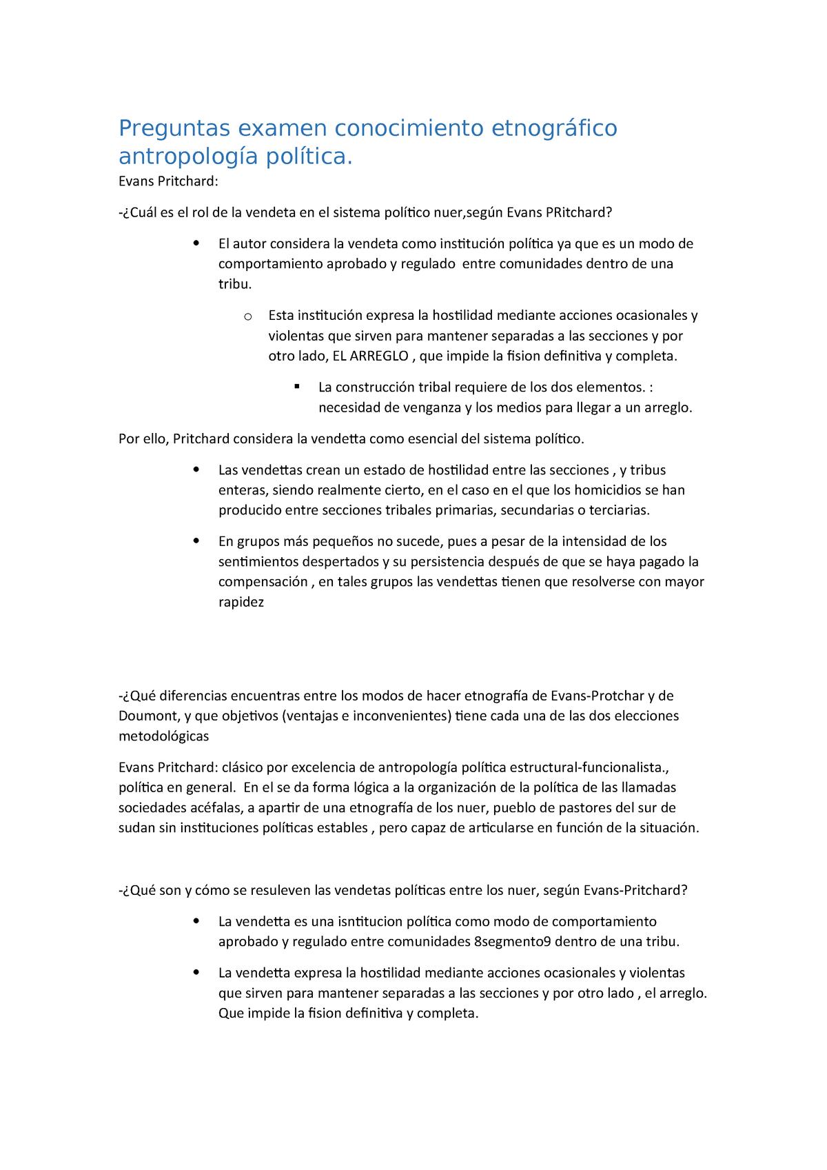 Preguntas Examen Conocimiento Etnográfico Antropología