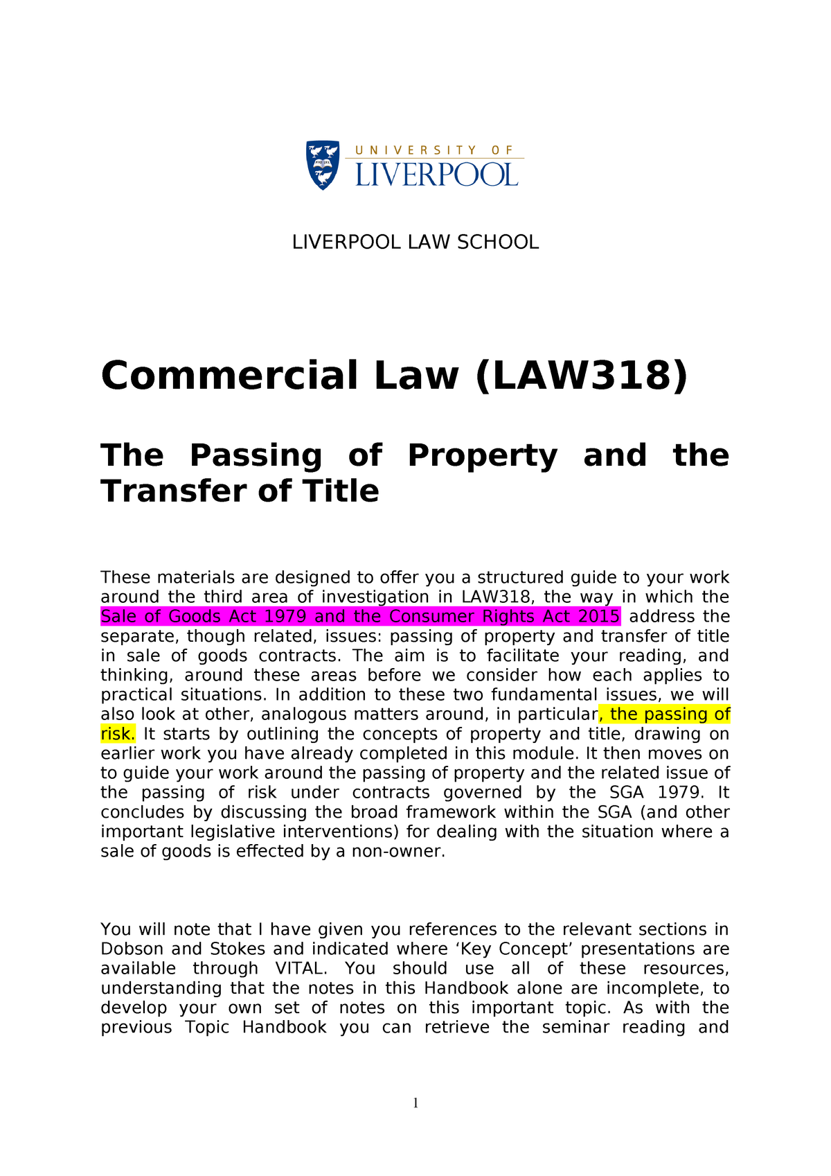 The Passing of Property and the Transfer of Title - Law M100