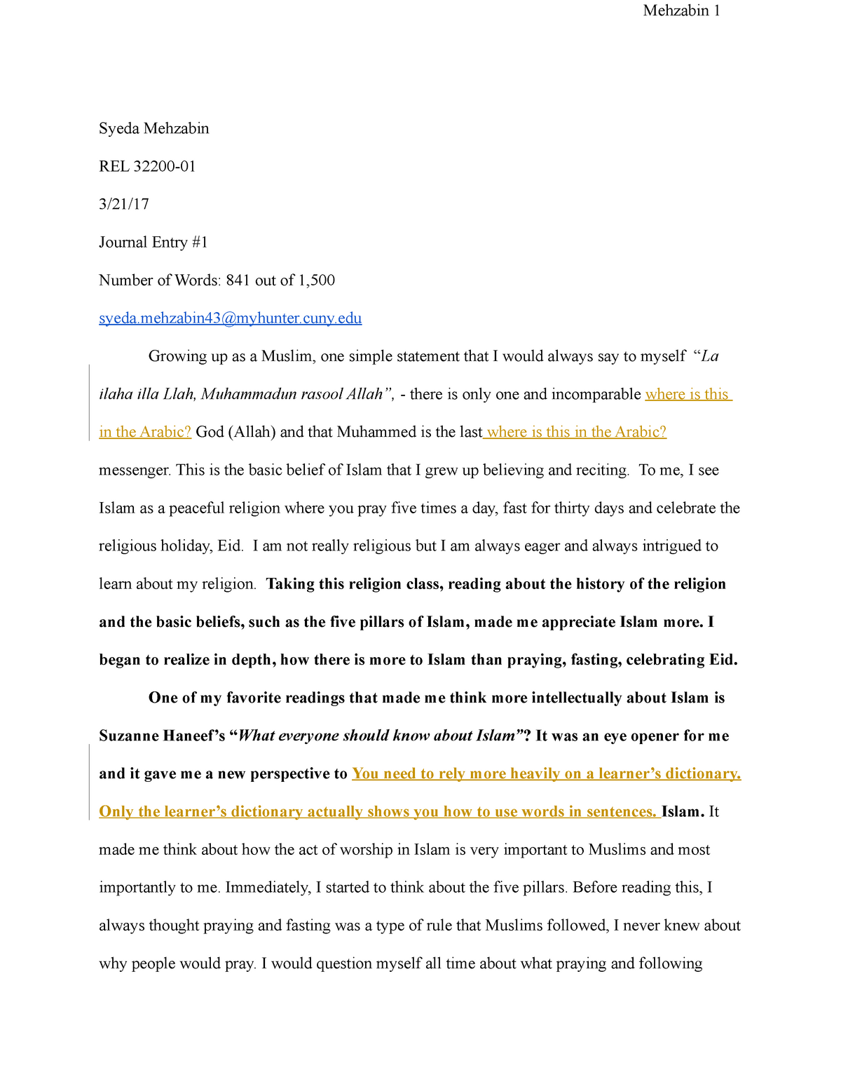 BFB-REL 322 Journal Entry - SOC 205: Religion - StuDocu