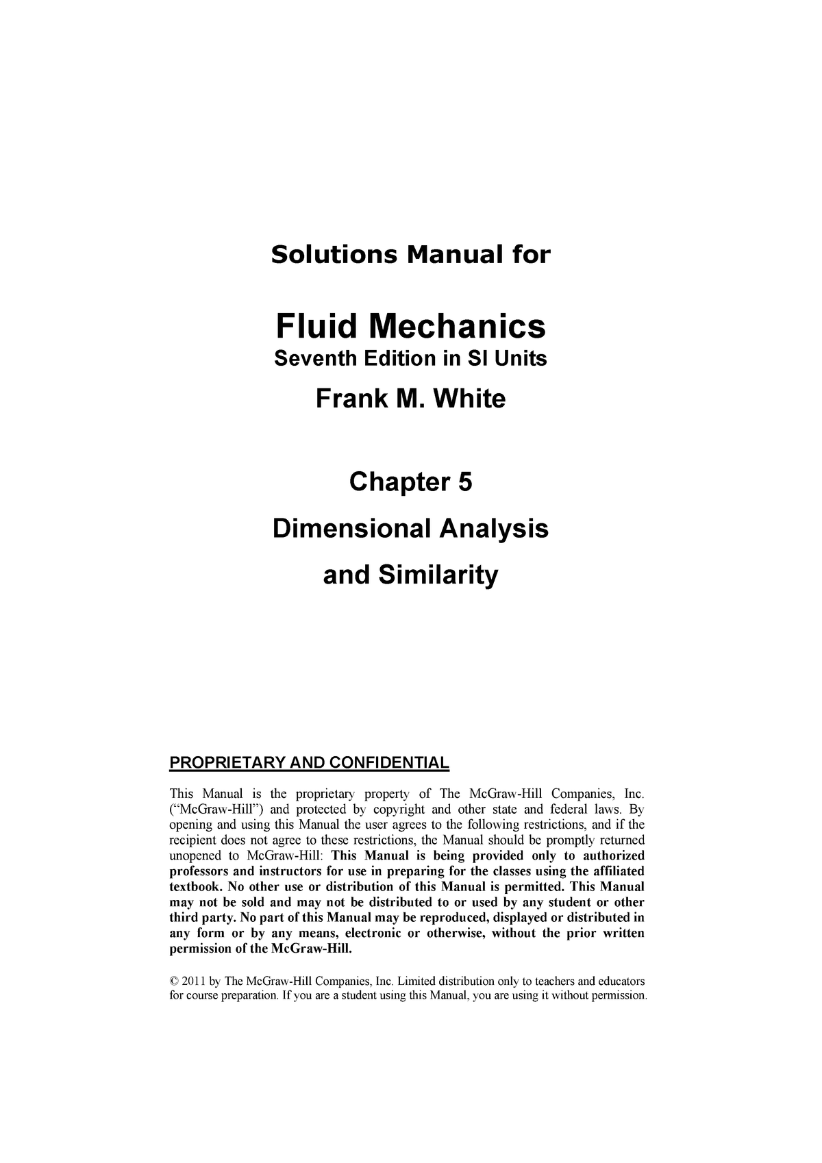 7e Chp5SMIT - Solution manual Fluid Mechanics - StuDocu