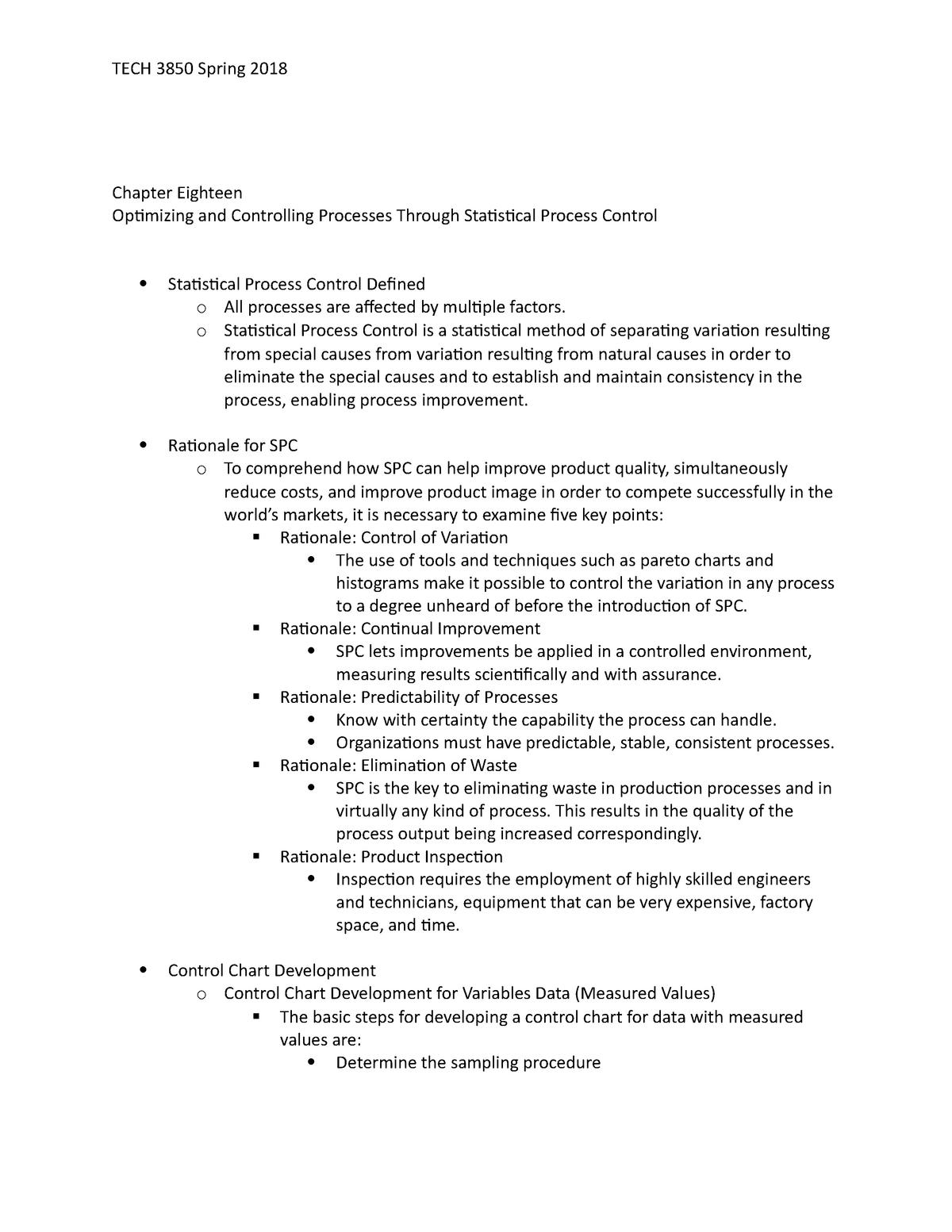 Chapter Eighteen - TECH 3850: Quality Assurance in