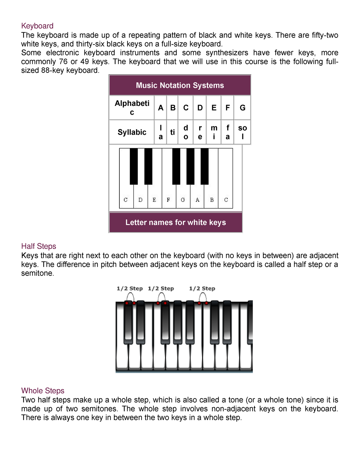 Section 1 - THE Keyboard - MUS1005 Theory/Fundamentals - StuDocu