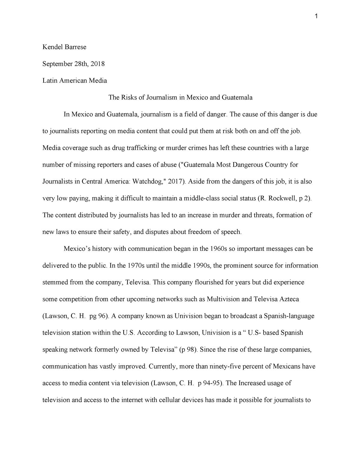 Latin Media Paper 1 - Grade: 90 - MSP 0823: Latin American