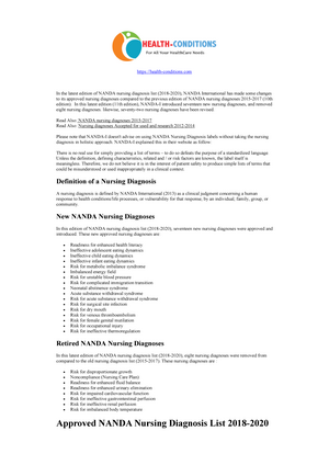 Nanda Nursing Diagnosis List 2018 2020 Warning Tt Undefined Function 22 Https Health Conditions Com In The Latest Edition Of Nanda Nursing Diagnosis List 2018 Studocu