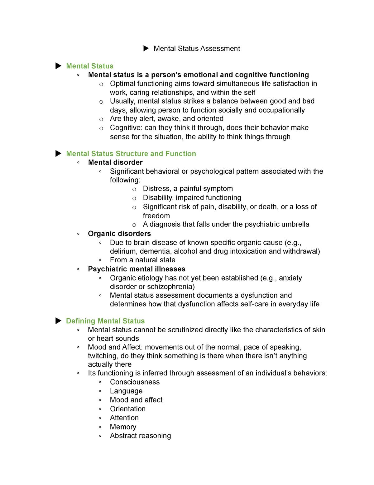 Mental Status Assessment Nur 3030 Nsu Studocu