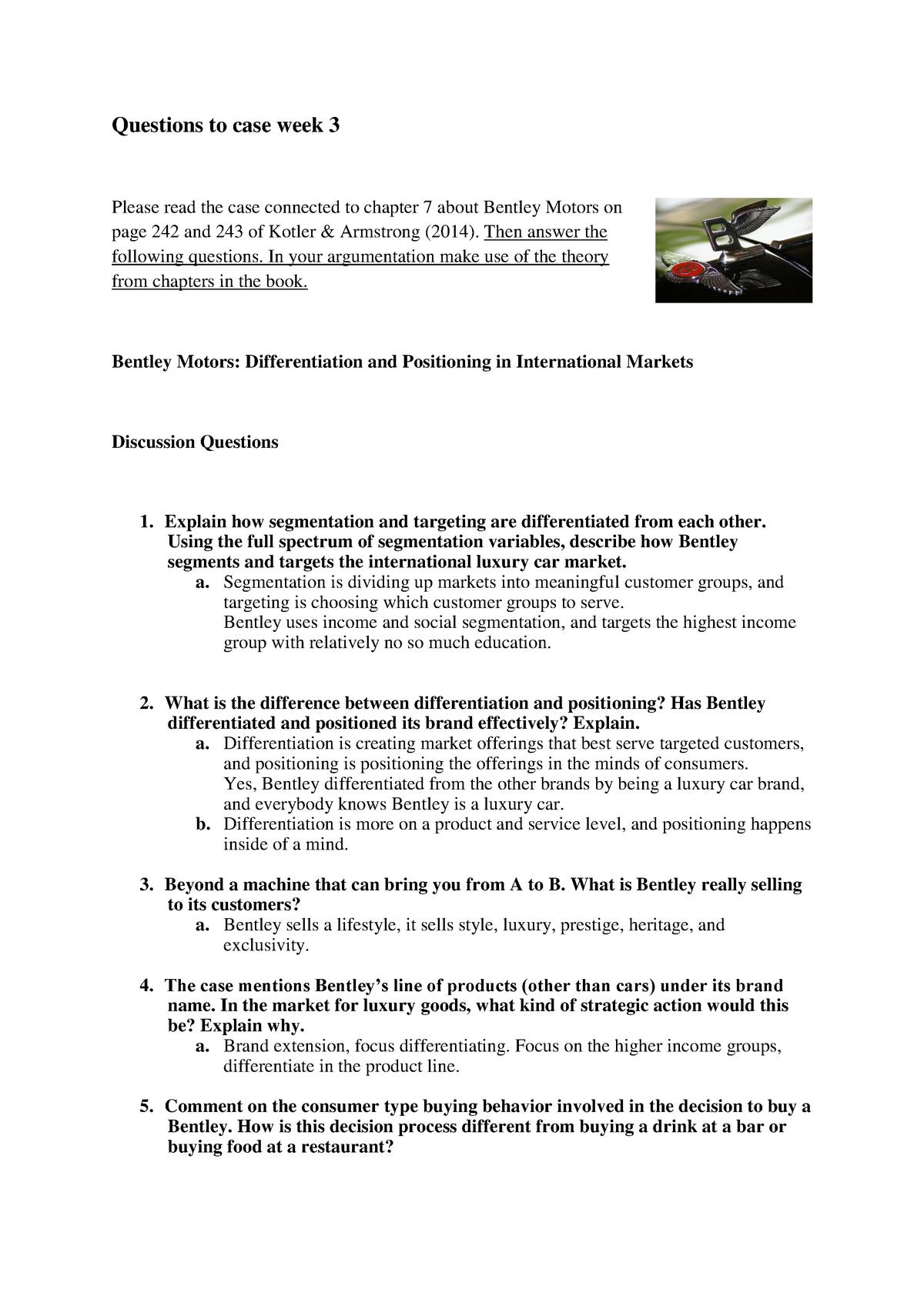 Workgroup elaborations 1-2, elaborations Bentley Motors