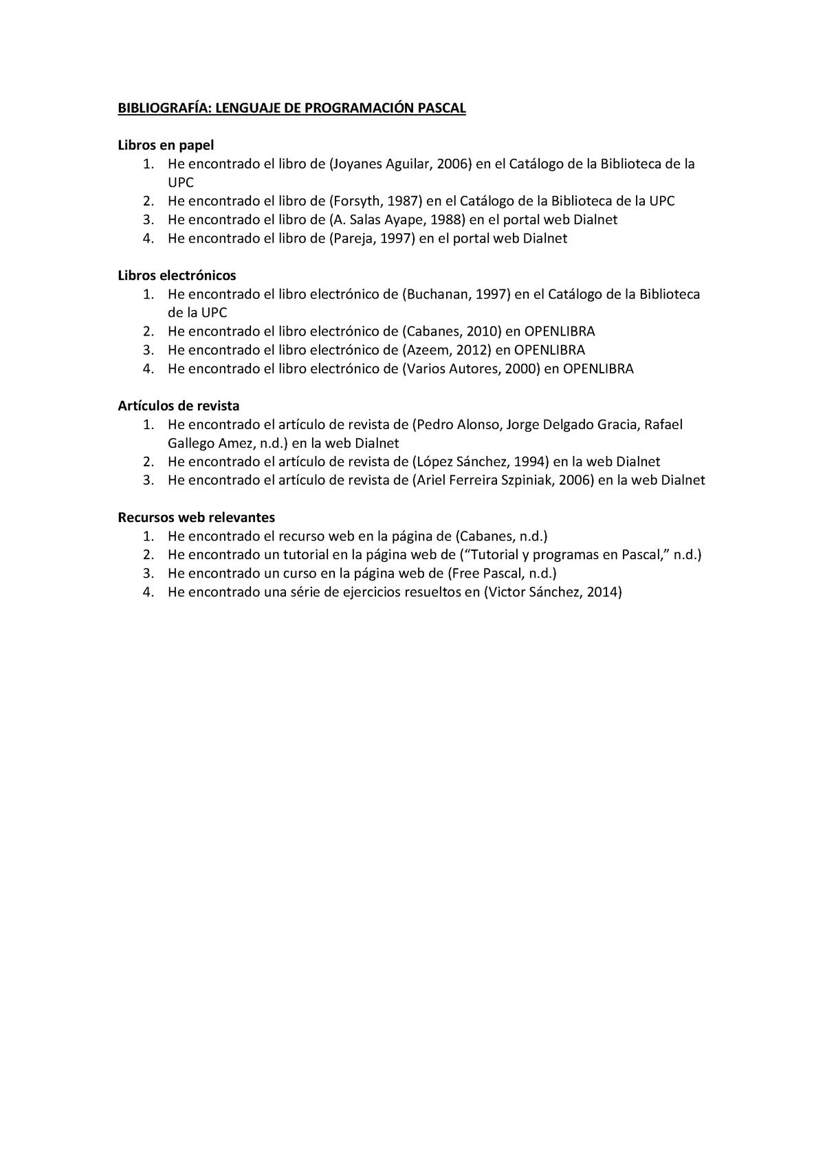 Bibliografia Pascal - 820006: Informática - StuDocu