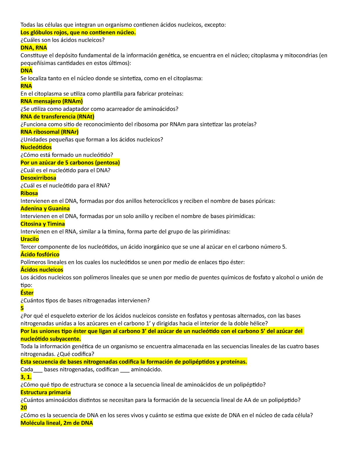 Preguntas Biologia Apuntes 1 Biología Molecular Uv