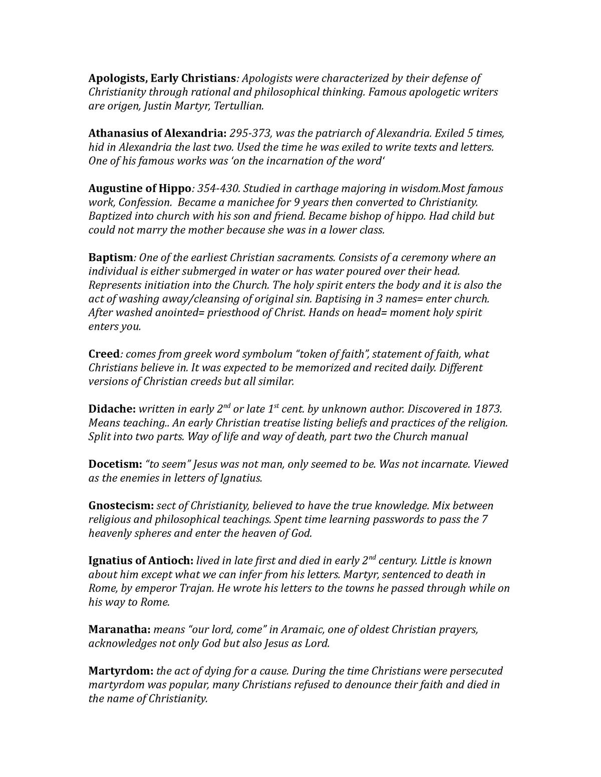 Theo-Vocab List - THEO 2610 Early Christian Writings - StuDocu