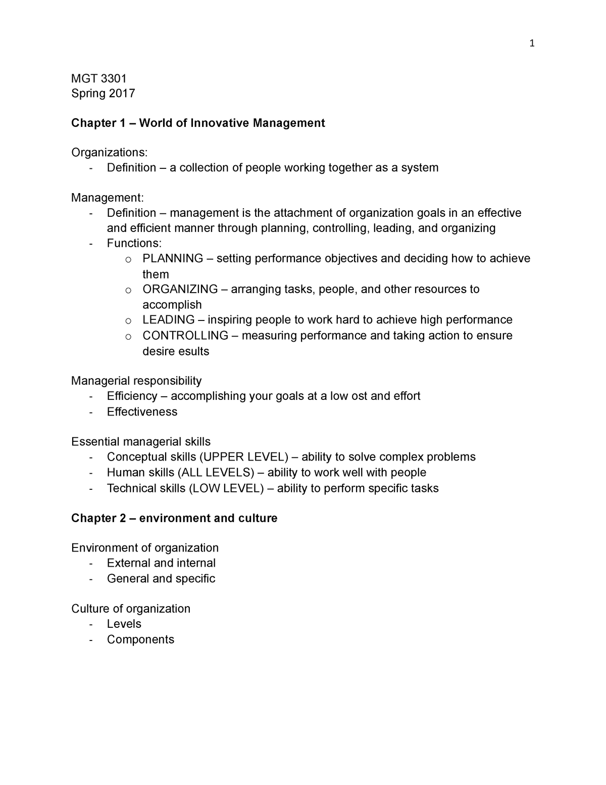 MGT 3301 chapter 1-5 notes - MIS 3301 : Systems Analysis and Design