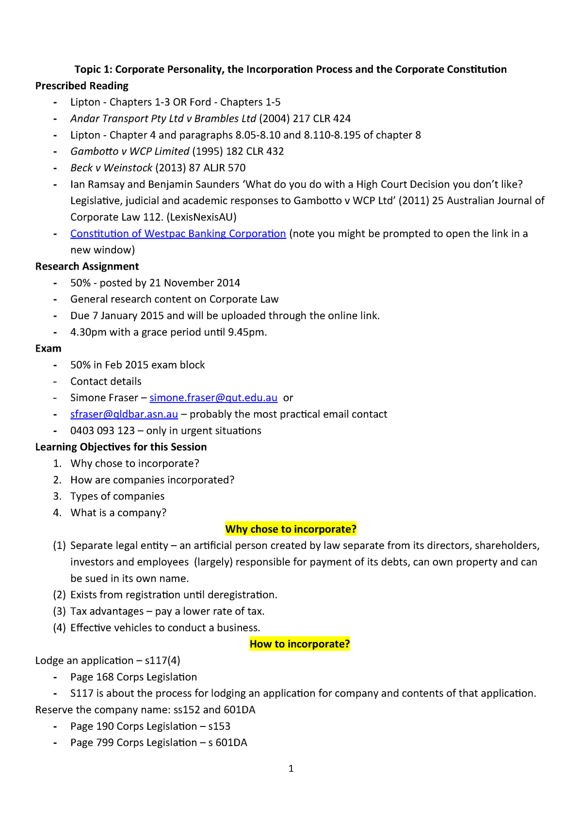 Final Corps Notes Sess 1 - 3 - LWB334 Corporate Law - QUT