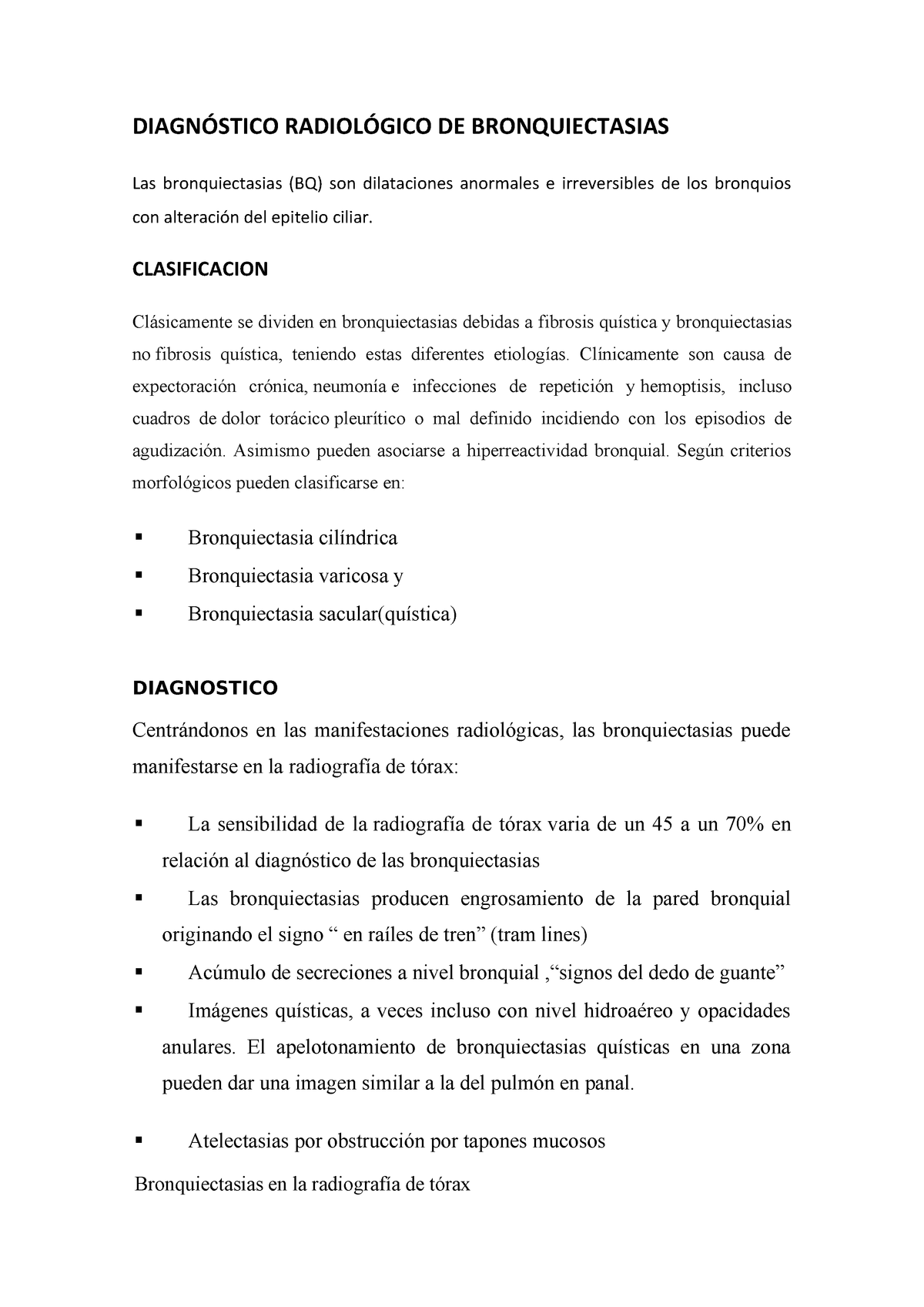 Quísticas bronquiectasias varicosas