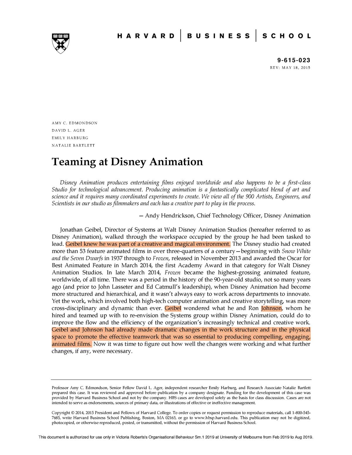 Teaming at Disney Animation copy - MGMT20001: Organisational