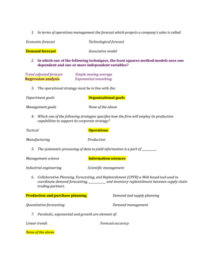 Exam 0 403 Operations Management Studocu
