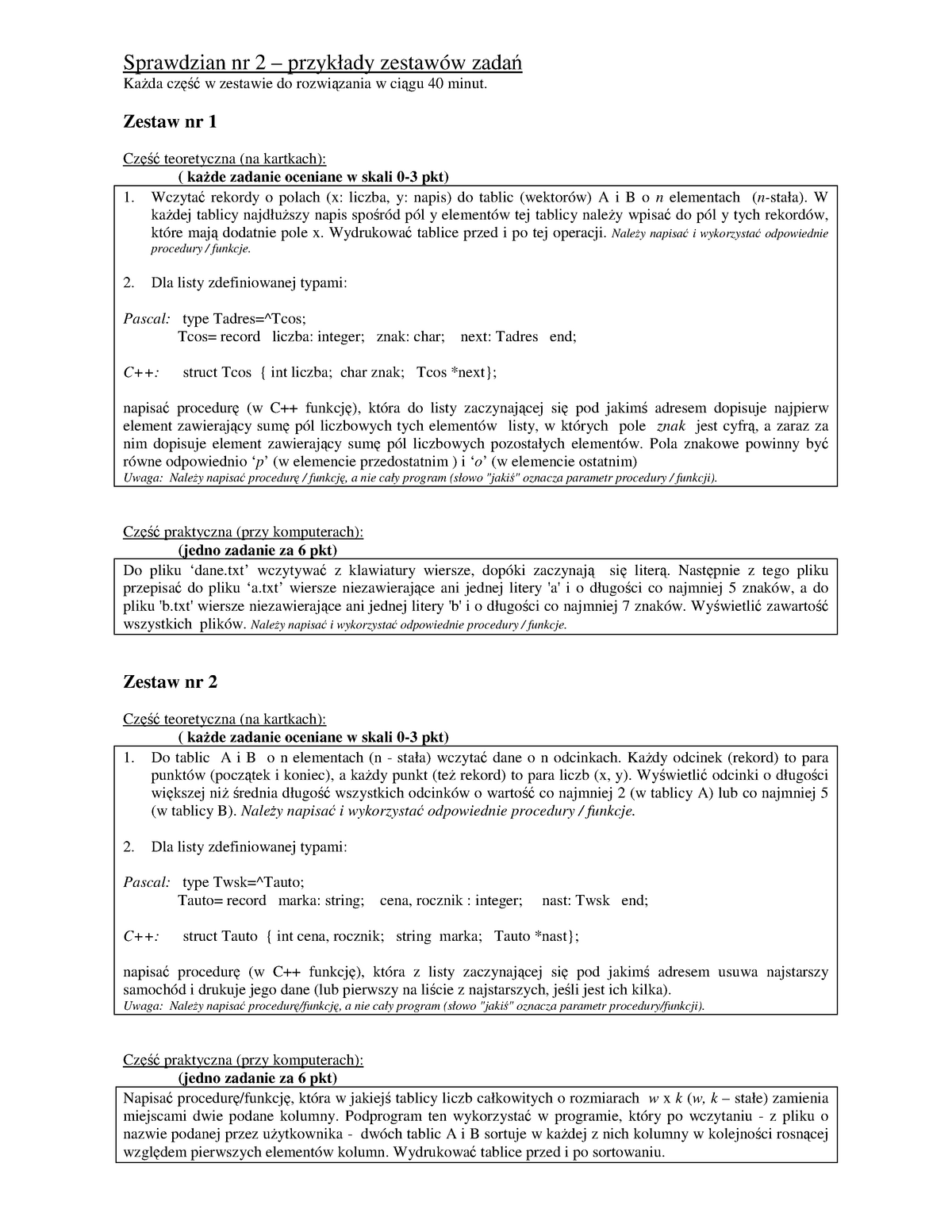 Exam June 2017 Questions Programowanie Zaawansowane Uwm