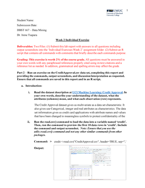 Lab1 - Week 2 Individual Exercise - DBST 667 Data Mining