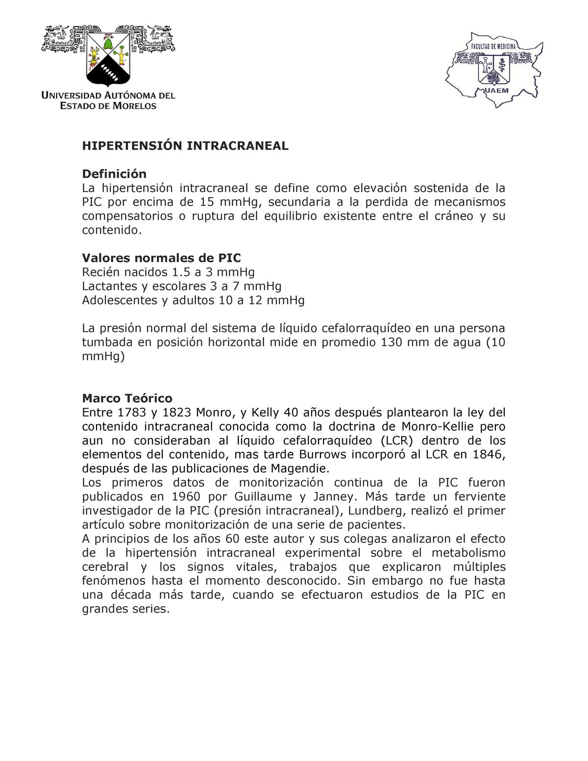 Presión intracraneal normal (icp)