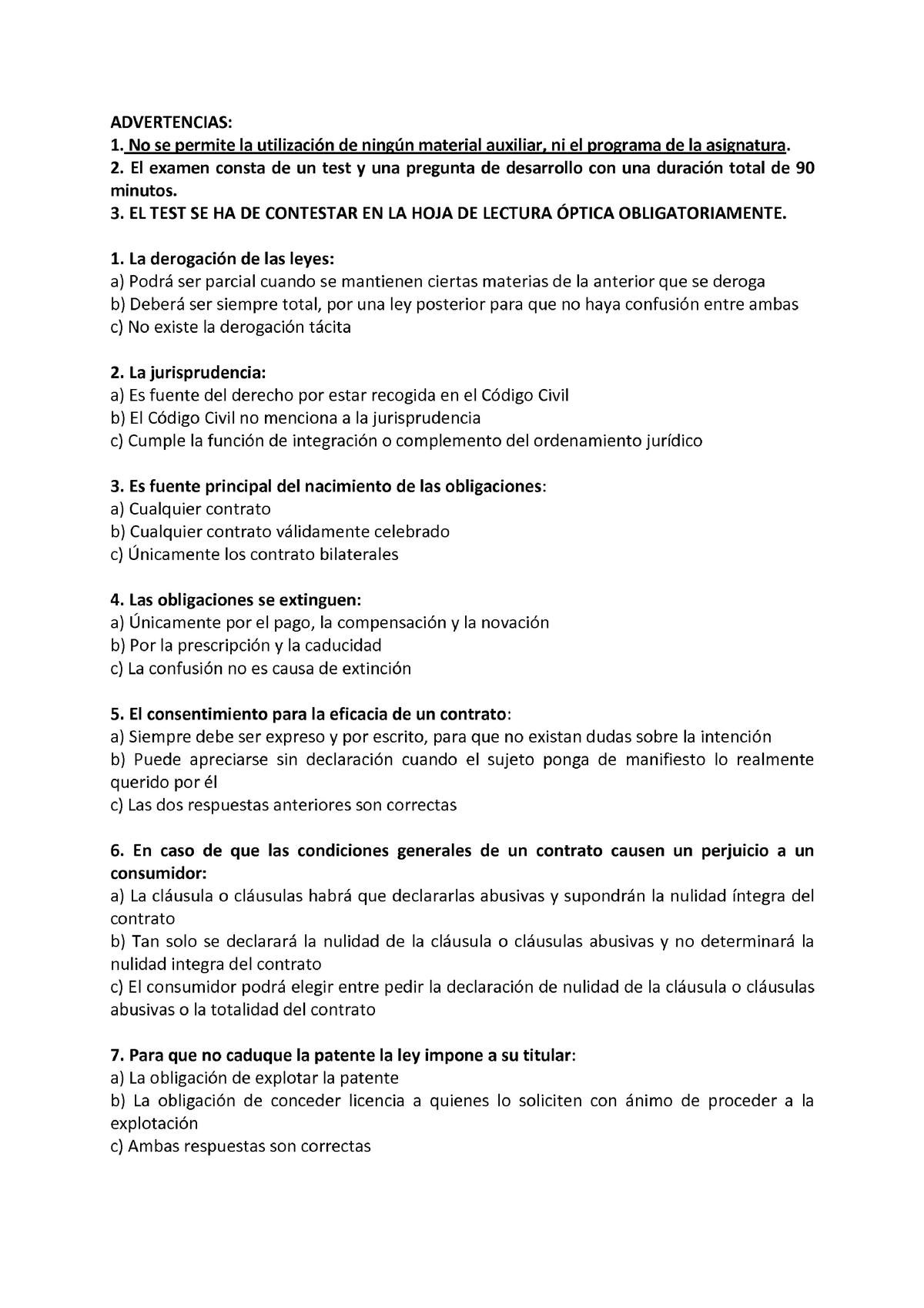 Examen Junio 2014 Introduccion Al Derecho Studocu